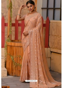 Light Orange Heavy Embroidery Work Designer Wedding Saree