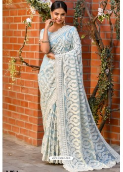 Sky Blue Heavy Embroidery Work Designer Wedding Saree