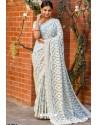 Sky Blue Heavy Embroidery Work Designer Wedding Saree