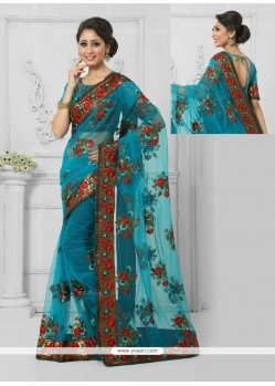 Beauteous Black Embroidered Work Designer Saree