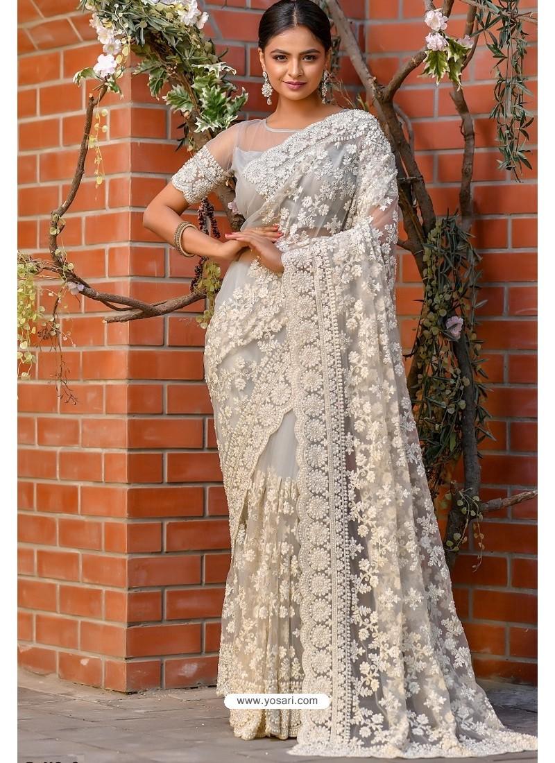 Off White Heavy Embroidery Work Designer Wedding Saree