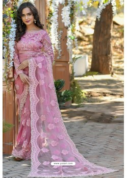 Pink Heavy Embroidery Work Designer Wedding Saree