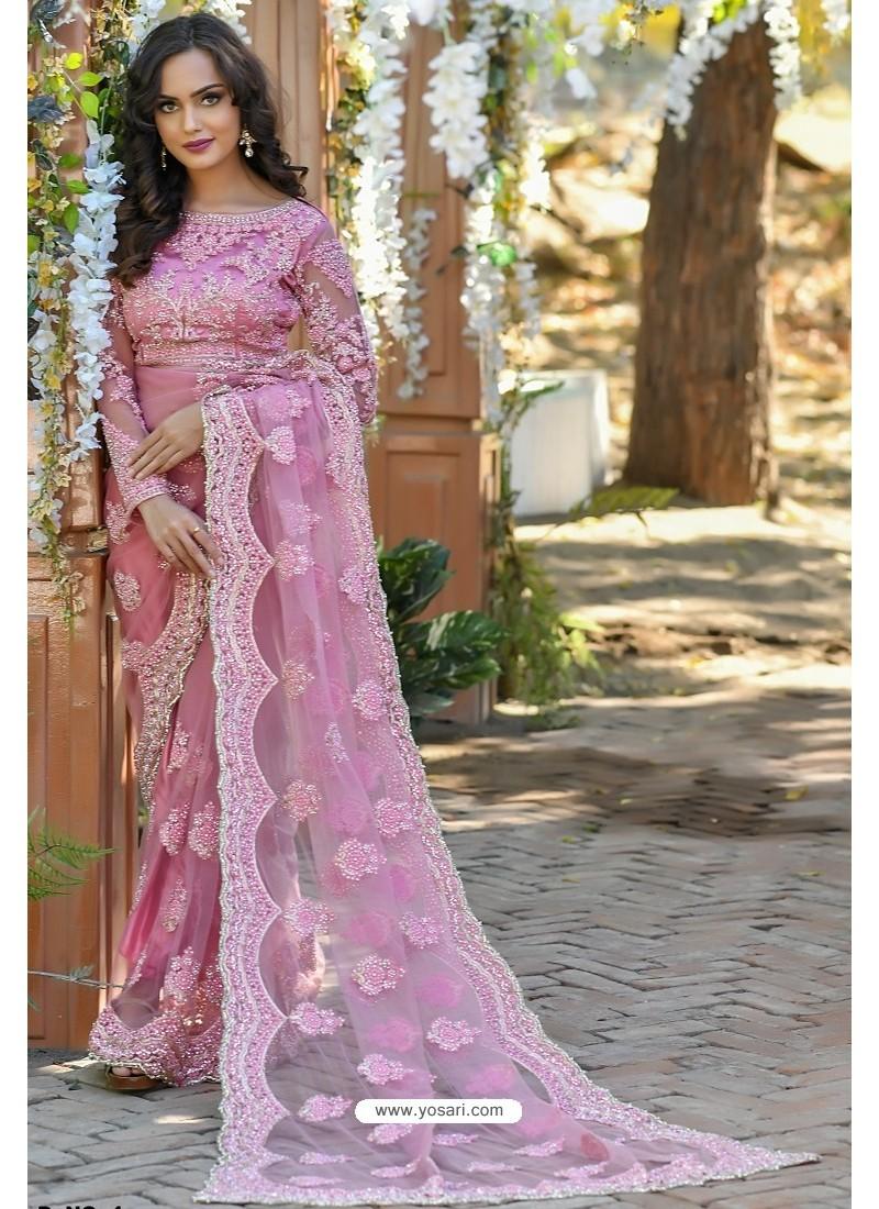 Pink Heavy Embroidery Work Designer Wedding Saree