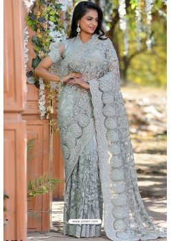 Grey Heavy Embroidery Work Designer Wedding Saree