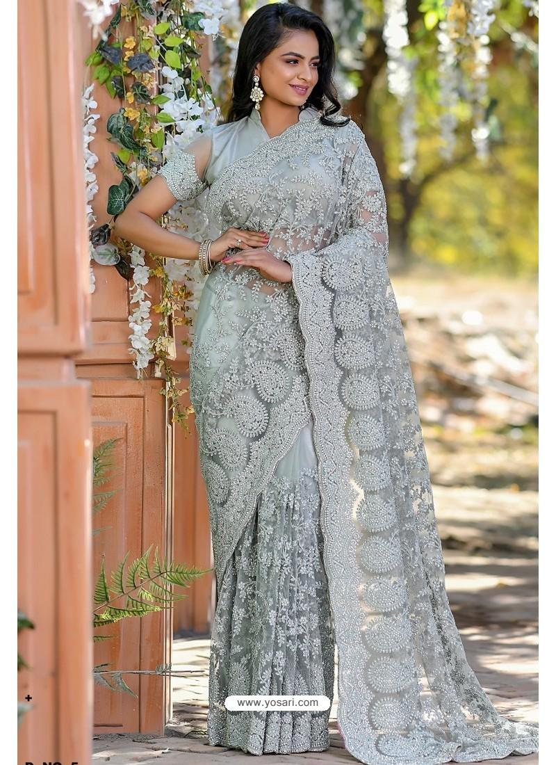 Grey Heavy Embroidery Work Designer Wedding Saree