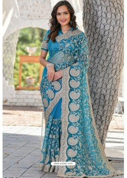 Turquoise Blue Heavy Embroidery Work Designer Wedding Saree