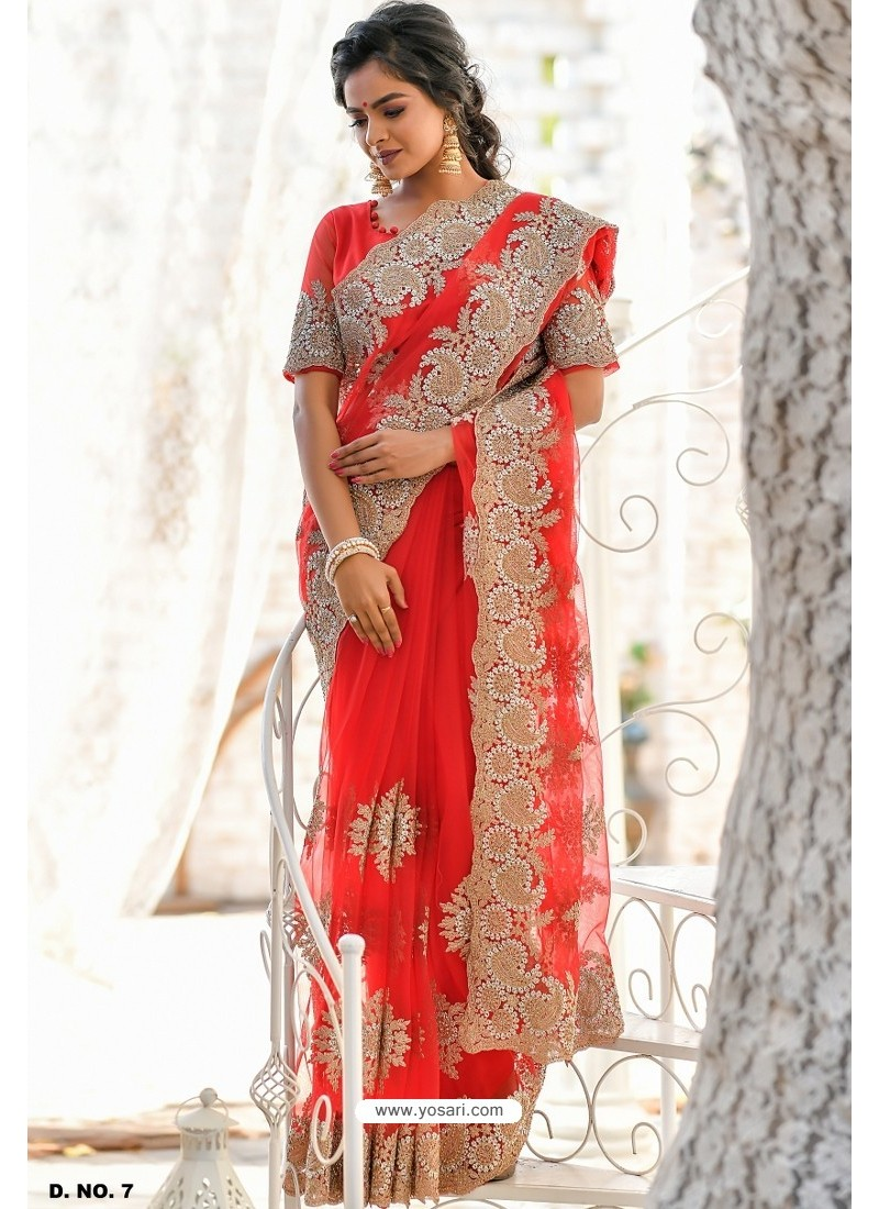 Red Heavy Embroidery Work Designer Wedding Saree