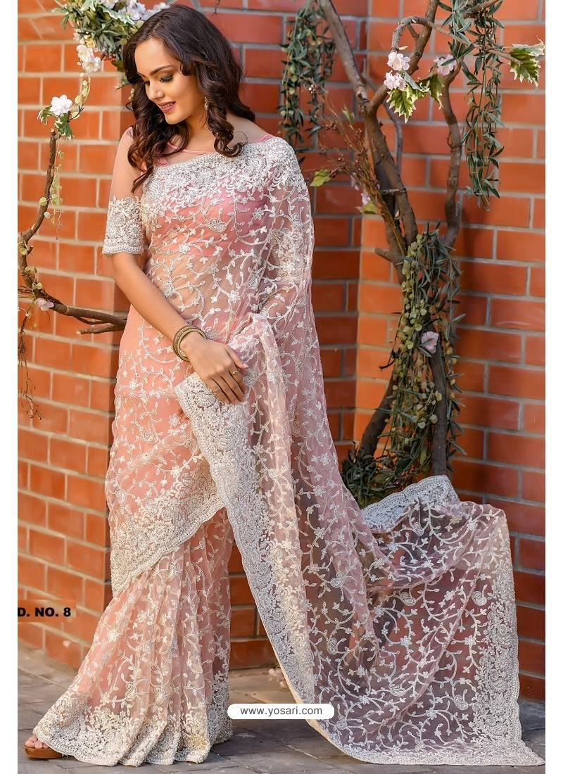 Peach Heavy Embroidery Work Designer Wedding Saree