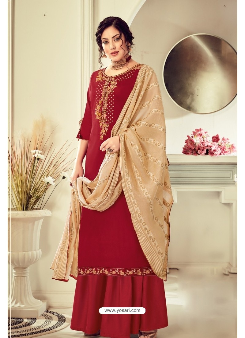 Maroon Pure Jam Cotton Hand Worked Designer Suit