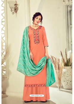 Peach Pure Jam Cotton Hand Worked Designer Suit