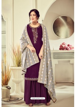 Deep Wine Pure Jam Cotton Hand Worked Designer Suit