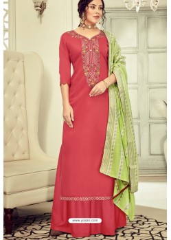 Dark Peach Pure Jam Cotton Hand Worked Designer Suit