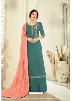 Teal Pure Jam Cotton Hand Worked Designer Suit