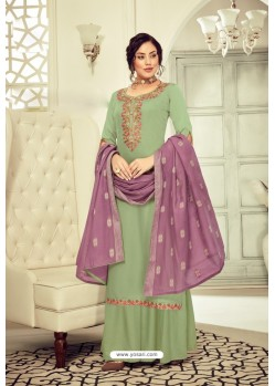 Olive Green Pure Jam Cotton Hand Worked Designer Suit
