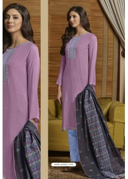Mauve And Sky Muslin Embroidered Straight Suit