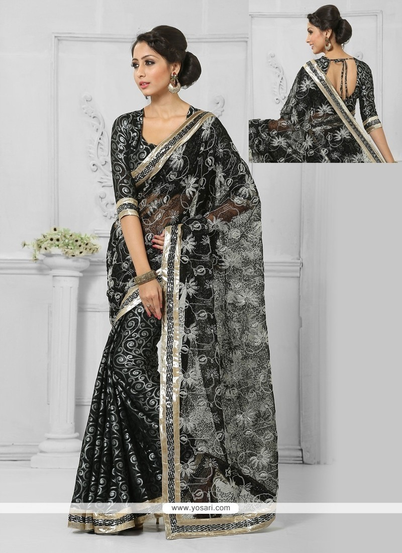 Lively Black Resham Work Brasso Designer Saree
