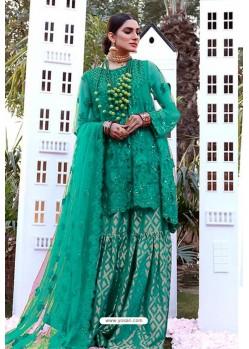 Jade Green Party Wear Butterfly Net Sharara Suit