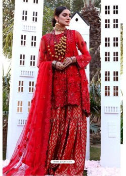 Red Party Wear Butterfly Net Sharara Suit