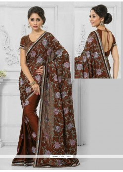 Prime Resham Work Brown Crepe Silk Designer Saree