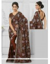 Prime Resham Work Brown Crepe Silk Designer Saree
