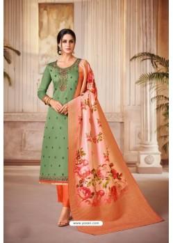 Green And Orange Jam Satin Cotton Straight Suit