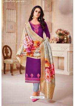 Purple And Grey Jam Satin Cotton Straight Suit
