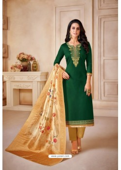 Dark Green And Golden Jam Satin Cotton Straight Suit