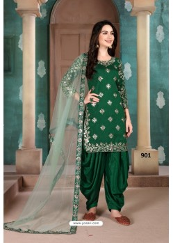 Dark Green Latest Art Silk Patiala Salwar Suit