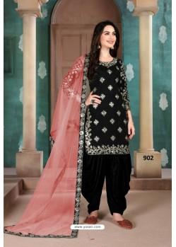 Black Latest Art Silk Patiala Salwar Suit