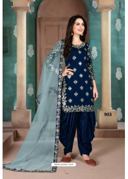 Navy Blue Latest Art Silk Patiala Salwar Suit