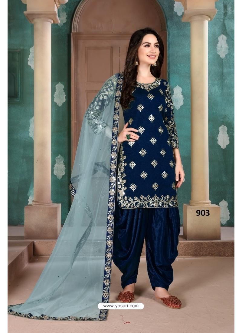 Navy Blue Latest Art Silk Patiala Salwar Suit