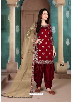 Maroon Latest Art Silk Patiala Salwar Suit