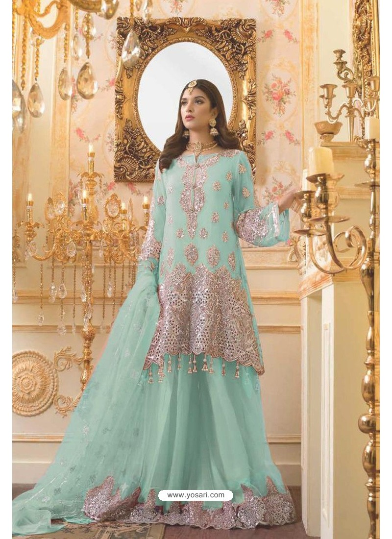 Aqua Blue Party Wear Mono Net Designer Suit