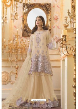 Cream Party Wear Mono Net Designer Suit
