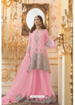 Pink Party Wear Mono Net Designer Suit
