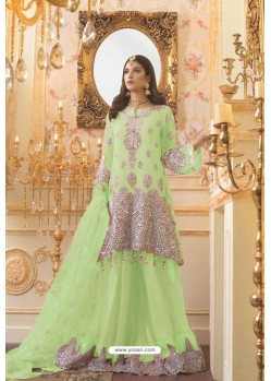 Green Party Wear Mono Net Designer Suit