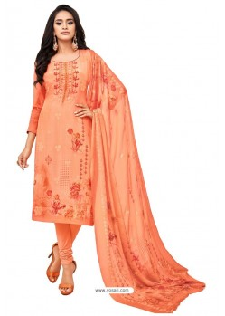 Orange Pure Viscose Designer Churidar Suit