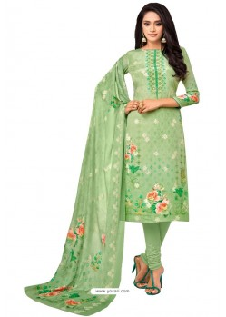 Parrot Green Pure Viscose Designer Churidar Suit