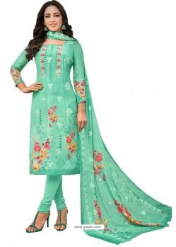 Jade Green Pure Viscose Designer Churidar Suit