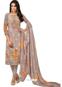 Taupe Pure Viscose Designer Churidar Suit