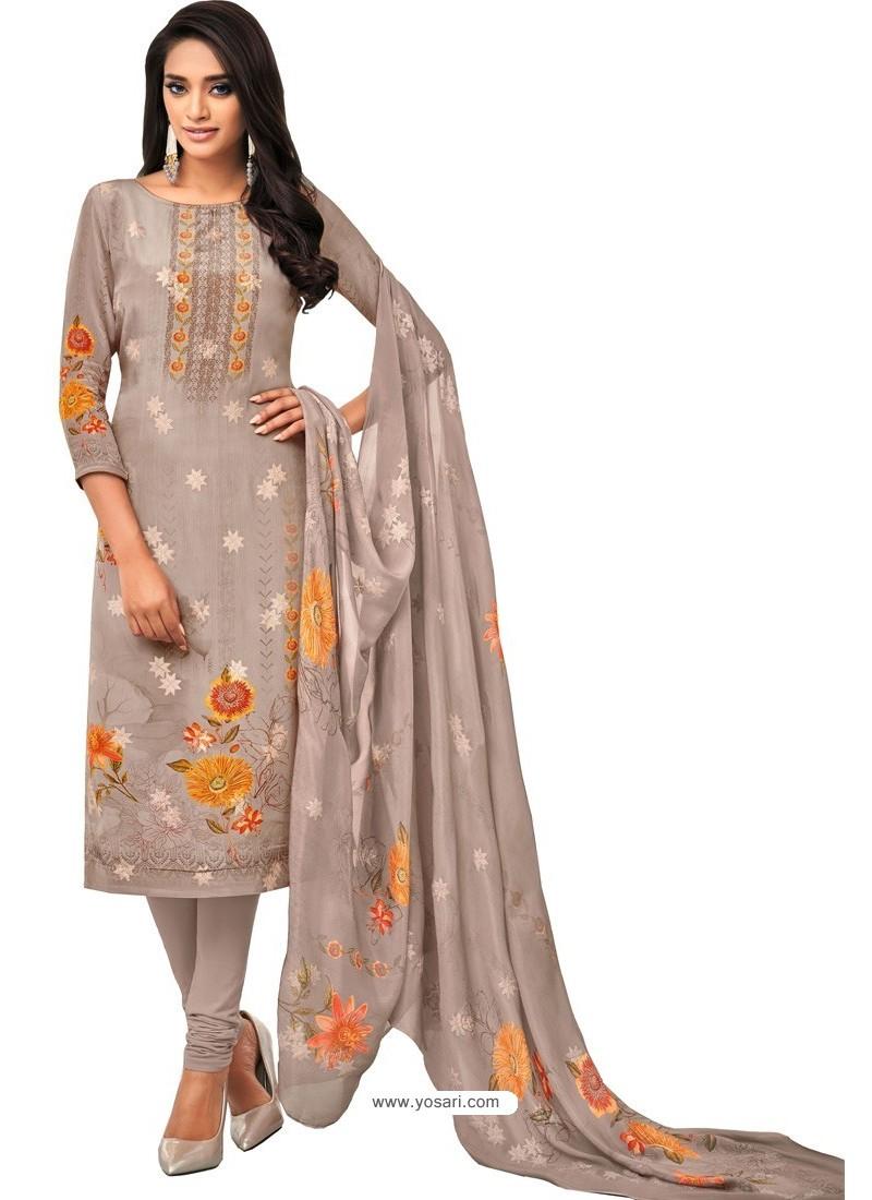 Taupe Pure Viscose Designer Churidar Suit