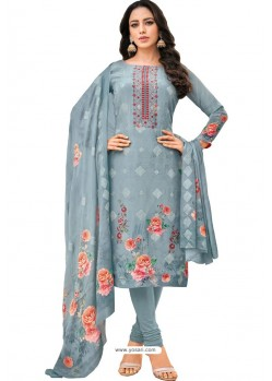 Grey Pure Viscose Designer Churidar Suit