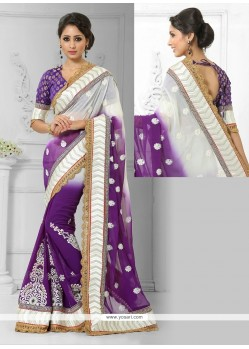 Glamorous Faux Chiffon Purple And White Zari Work Designer Saree