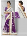 Glamorous Faux Chiffon Purple And White Zari Work Designer Saree