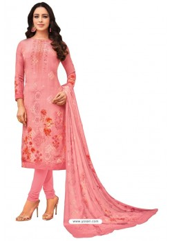 Pink Pure Viscose Designer Churidar Suit