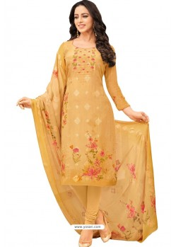 Yellow Pure Viscose Designer Churidar Suit