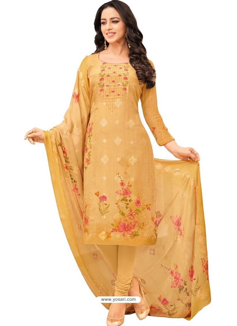 Yellow Pure Viscose Designer Churidar Suit