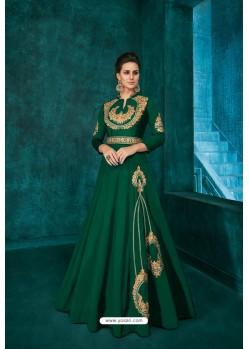 Dark Green Designer Triva Silk Party Wear Gown
