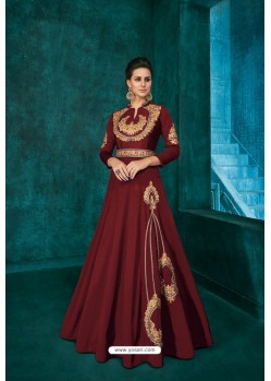 Maroon Designer Triva Silk Party Wear Gown