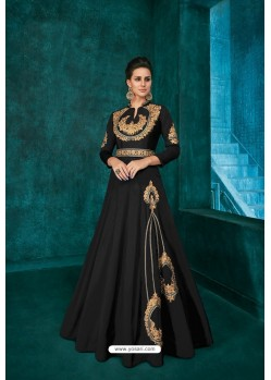 Black Designer Triva Silk Party Wear Gown